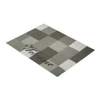 vintage style patchwork fabric design black white doormat