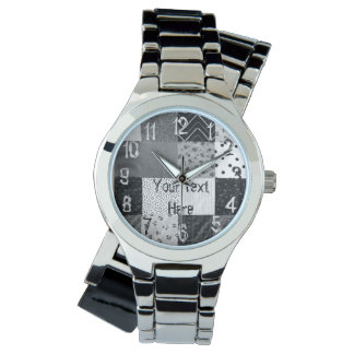 vintage style patchwork fabric design black white watches