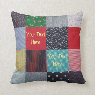 vintage style patchwork fabric design colorful throw pillow