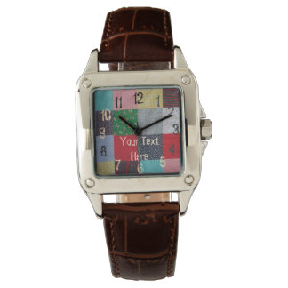 vintage style patchwork fabric design colorful watches