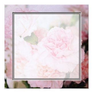 Vintage style pink carnation flowers blank wedding card