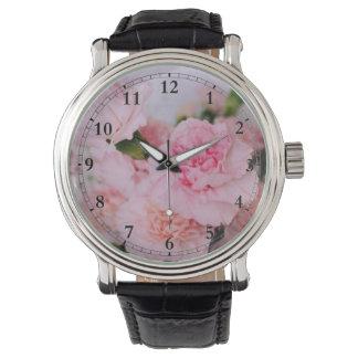 Vintage style pink floral photo art wrist watch