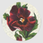 Vintage Style Red Pansy Classic Round Sticker