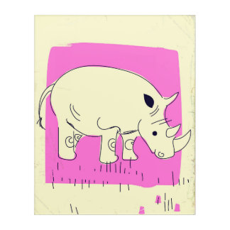 Vintage style Rhino cartoon Acrylic Print