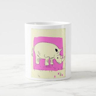 Vintage style Rhino cartoon Large Coffee Mug
