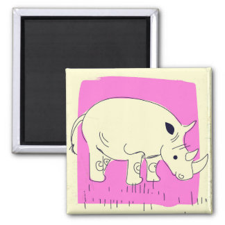 Vintage style Rhino cartoon Magnet
