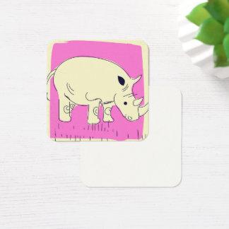Vintage style Rhino cartoon Square Business Card