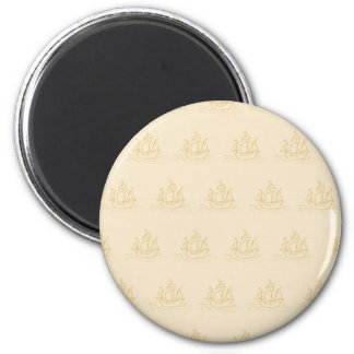 Vintage Style Sailing Ship Pattern, Beige Color. 2 Inch Round Magnet