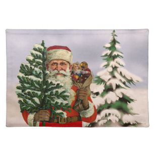 Vintage style Santa Claus on winter background Placemat
