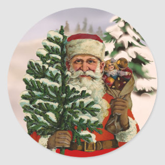Vintage style Santa Claus on winter background Round Sticker