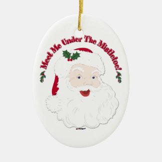 Vintage Style Santa Meet Me Under The Mistletoe! Ceramic Oval Ornament