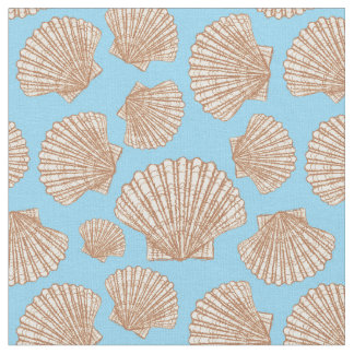 Vintage Style Seashell Pattern   Add Your Initial Fabric