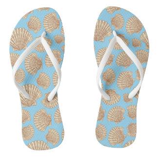 Vintage Style Seashell Pattern Flip Flops