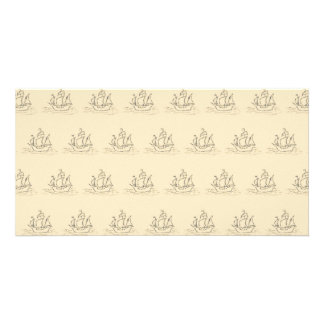 Vintage Style Ship Pattern, Beige Color. Card
