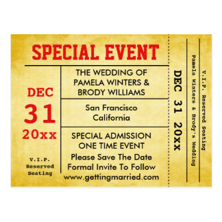 Vintage Style Special Event Save The Date Ticket Postcard