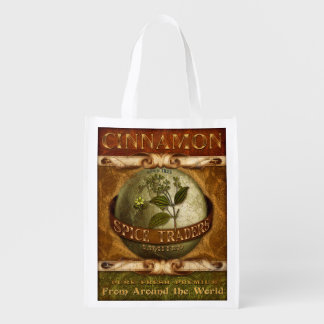Vintage-style Spice Label, Cinnamon, grocery bag