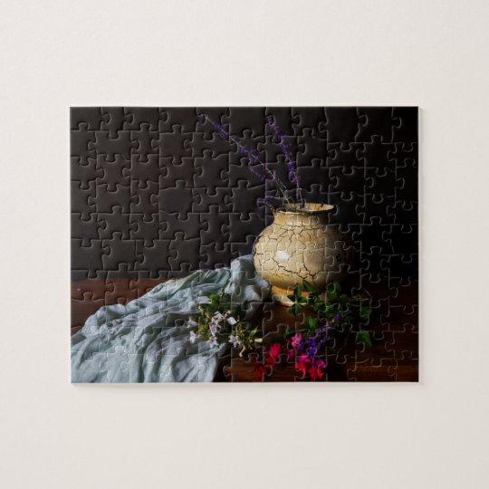 Vintage Style Still Life with Ceramic Vase Jigsaw Puzzle