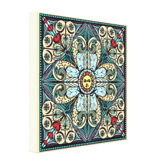 Vintage Style Sun Mandala Canvas Print
