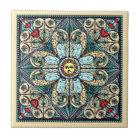 Vintage Style Sun Mandala Ceramic Art Tile
