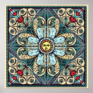 Vintage Style Sun Mandala Poster