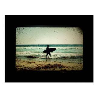 Vintage Style Surfer Silhouette Postcard