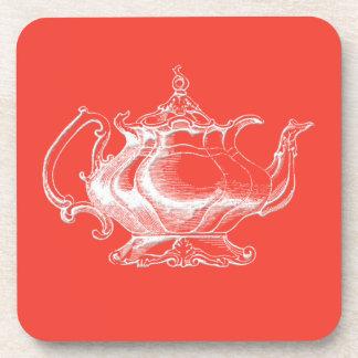 Vintage style Tea Pot on red coaster set of 6