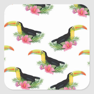 vintage style Toucan Pattern Square Sticker