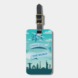 Vintage Style Travel Around the World Luggage Tag