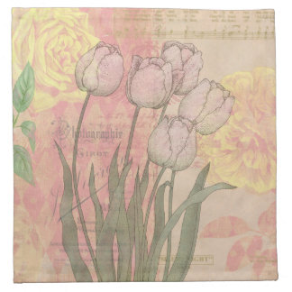 Vintage style tulips and roses printed napkins