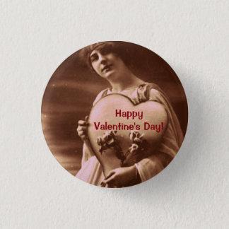 Vintage style Valentine's Day 1 Inch Round Button