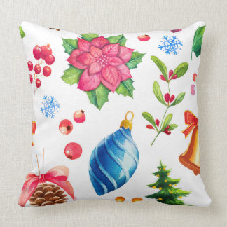 Vintage-style watercolor Christmas Throw Pillow