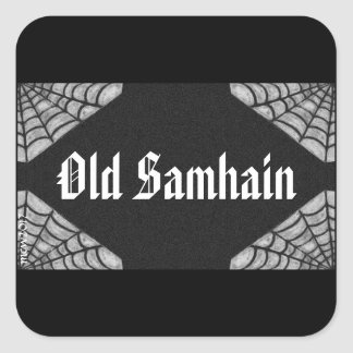 Vintage Style Web Old Samhain Witch Wizard Pagan Square Sticker