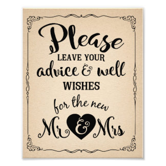 Vintage style wedding advice and well wishes sign