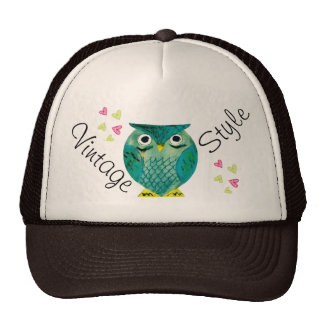 Vintage Style with Owls and Hearts - M1 Casquettes De Camionneur