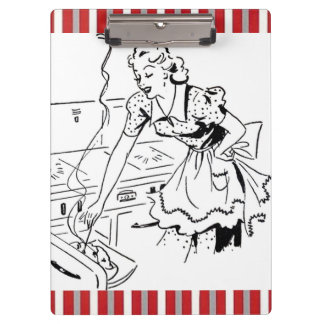 Vintage-Style Woman Baking Clipboards