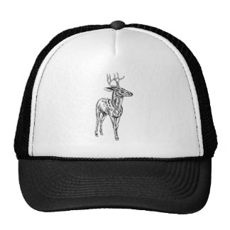 Vintage style woodcut stag deer trucker hats