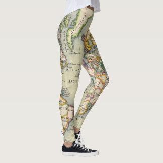 Vintage Style World Map Adventure Leggings