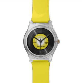 Vintage Style Yellow 45 rpm Vinyl Record Watch