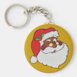 Vintage Styled Black Santa Image Basic Round Button Keychain