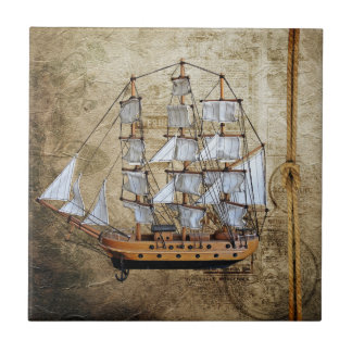 Vintage Styled Ship with Rope Knot Tile