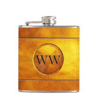 Vintage Stylish and Elegant Gold Monogram Hip Flask