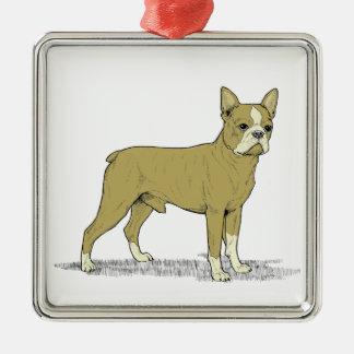 Vintage Stylized French Bulldog C Metal Ornament