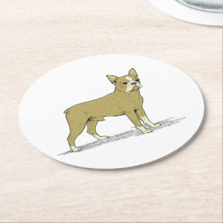 Vintage Stylized French Bulldog C Round Paper Coaster
