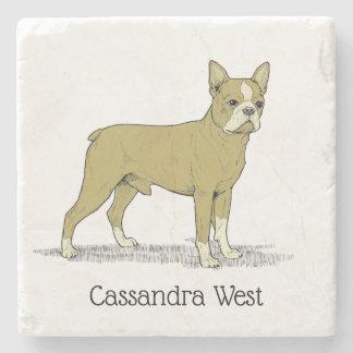 Vintage Stylized French Bulldog C Stone Coaster