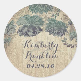 Vintage Succulents Rustic Wedding Classic Round Sticker