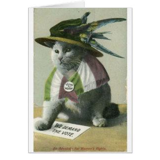 Vintage Suffragette Cat, Card