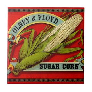 Vintage Sugar Corn Olney & Ford Produce Label Tile