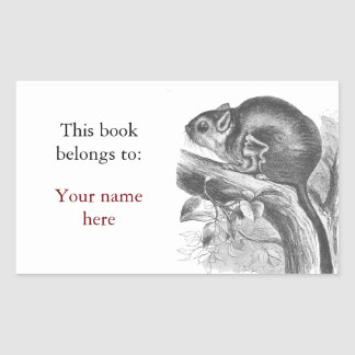 Vintage sugar glider illustration bookplate sticker
