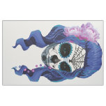 Vintage sugar skull girl with roses fabric