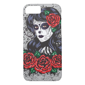 Vintage sugar skull girl with roses v10 iPhone 8/7 case